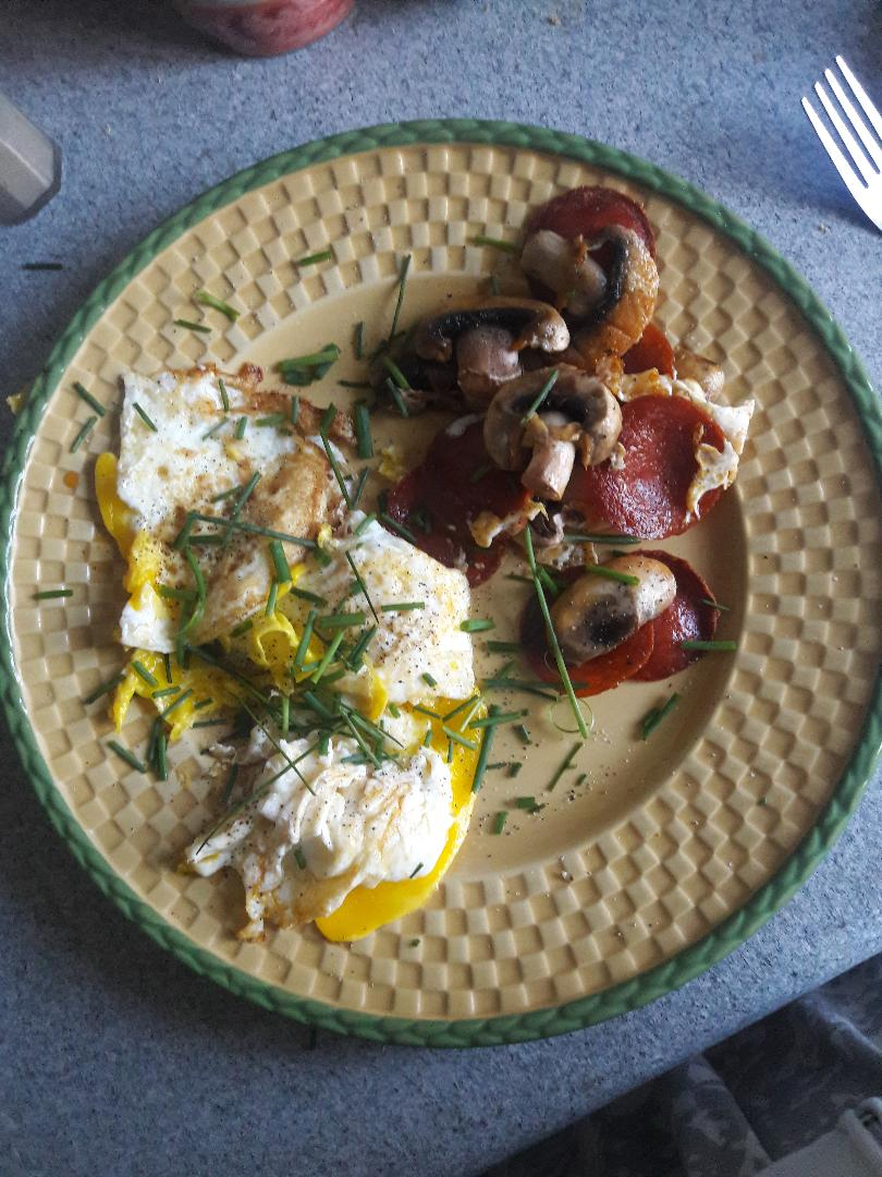 pepperoni fried egg mushrooms
