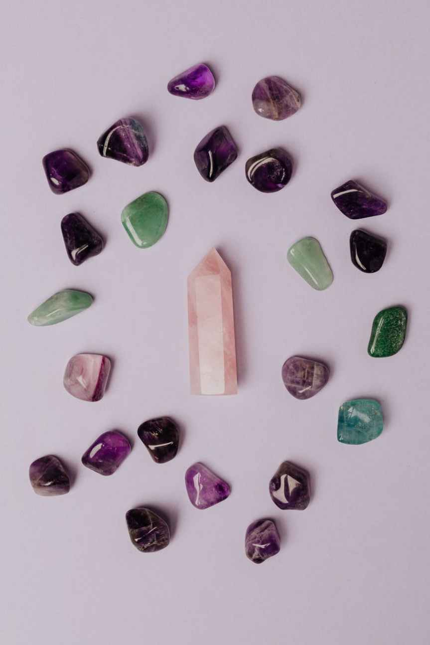 4 Crystal Color Stones for Healing + Relief